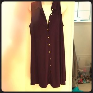 🏐NWOT Long Purple w/ Gold Buttons Tunic SzL🏐
